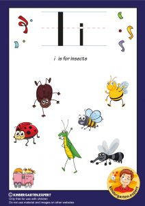 I is for insects, kindergarten expert, free printable