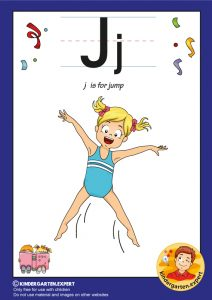 J is for jump, kindergarten expert, free printable