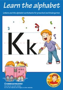 Letters & alphabet worksheets for preschool and kindergarten, letter K, kindergarten expert, free printable
