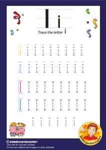 Trace the letter I for kindergarten, kindergarten expert, free printable
