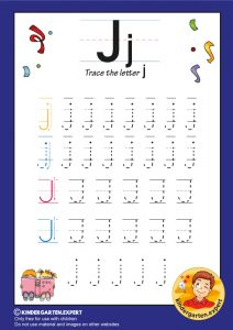 Trace the letter J for kindergarten, kindergarten expert, free printable