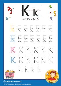 Trace the letter K for kindergarten, kindergarten expert, free printable