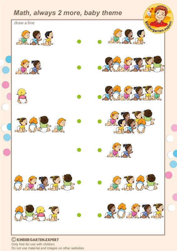 Always 2 more, baby theme, kindergarten.expert, free printable