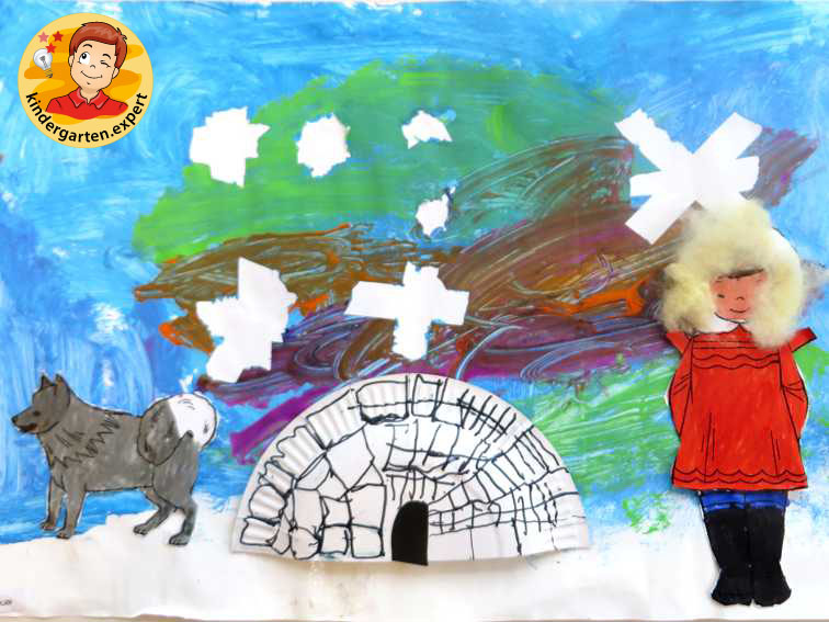 Collage North Pole with description 3, North Pole and South Pole theme, kindergarten