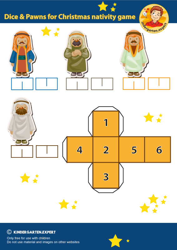 Dice and pawns for christmas nativity game, kindergarten expert, free printable