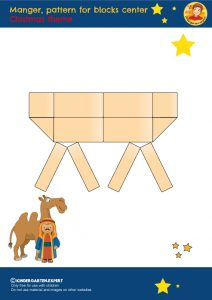 Manger, pattern for blocks center, kindergarten expert, free printable