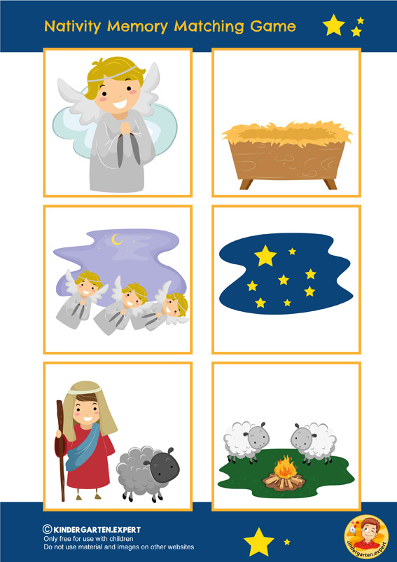 Nativity memory matching game, kindergarten and preschool, kindergarten Expert