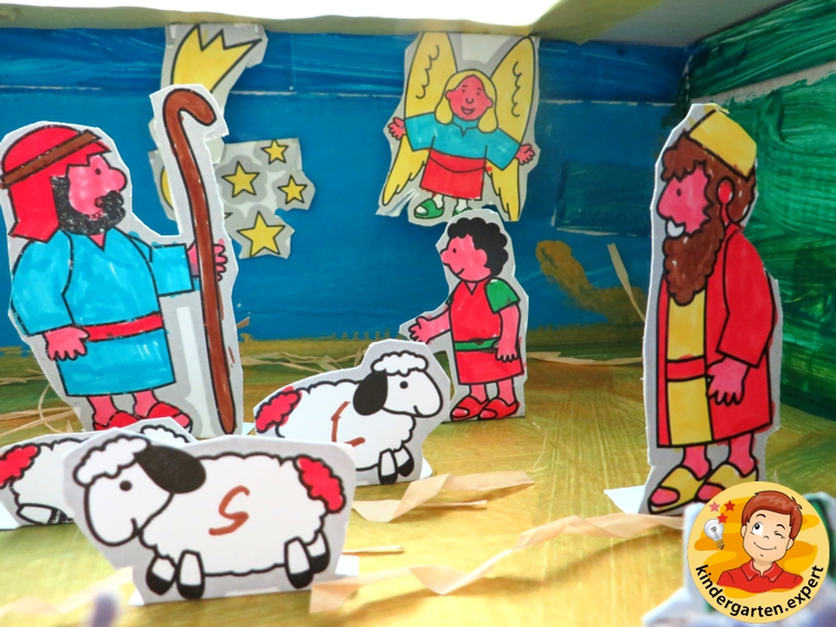 Nativity scene in a shoe box, withe free download, kindergarten expert
