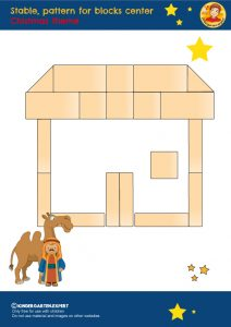 Stable, pattern for blocks center, kindergarten expert, free printable