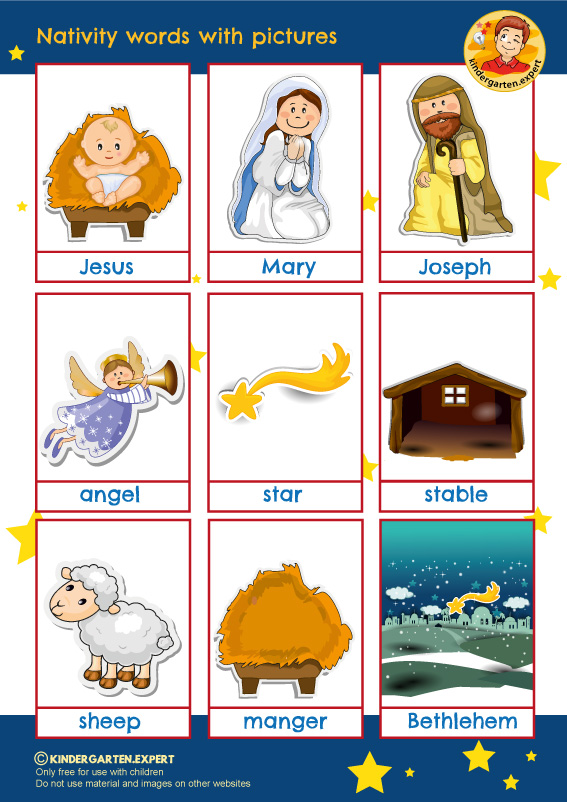 nativity words with pictures, free printable, kindergarten.expert