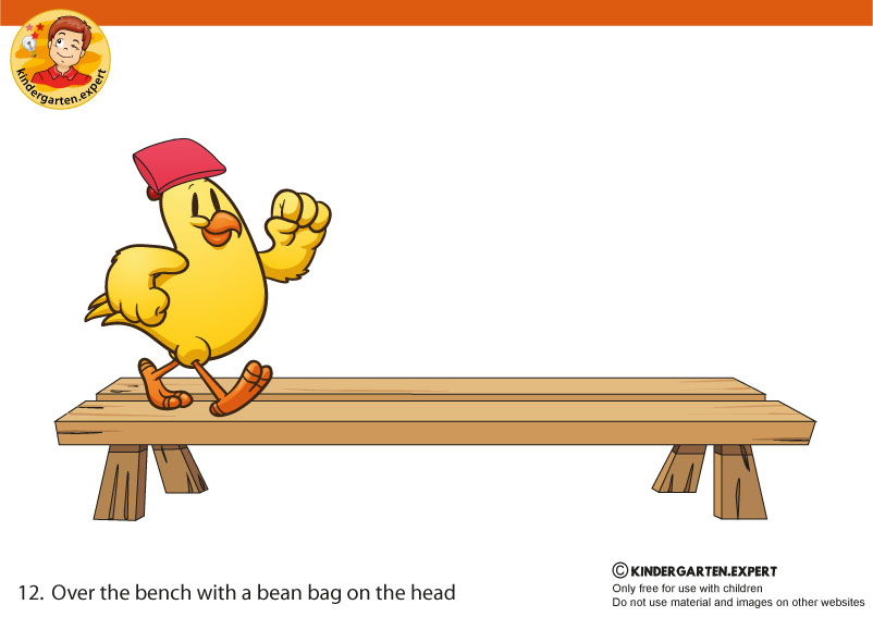 12 Over the bench with a bean bag on the head, PE cards, North Pole and South Pole theme, free printable, kindergarten expert