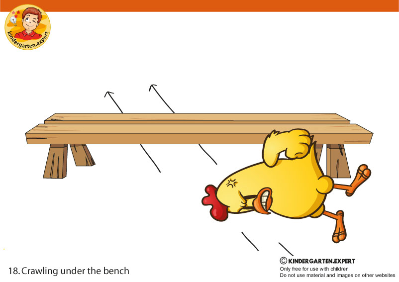 18 Crawling under the bench , PE cards, North Pole and South Pole theme, free printable, kindergarten expert