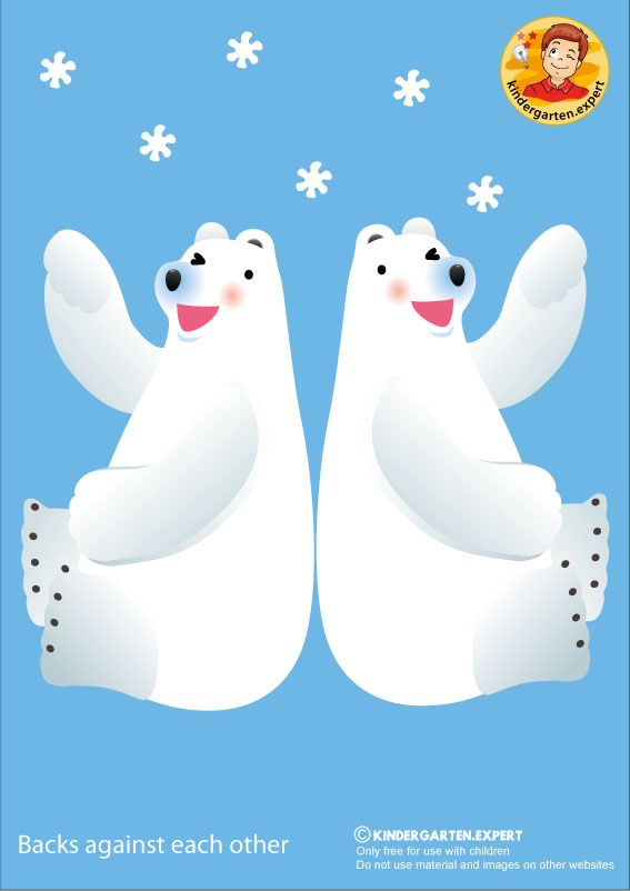 Bear 2, backs against each other, North Pole and South Pole theme, free printable, kindergarten expert
