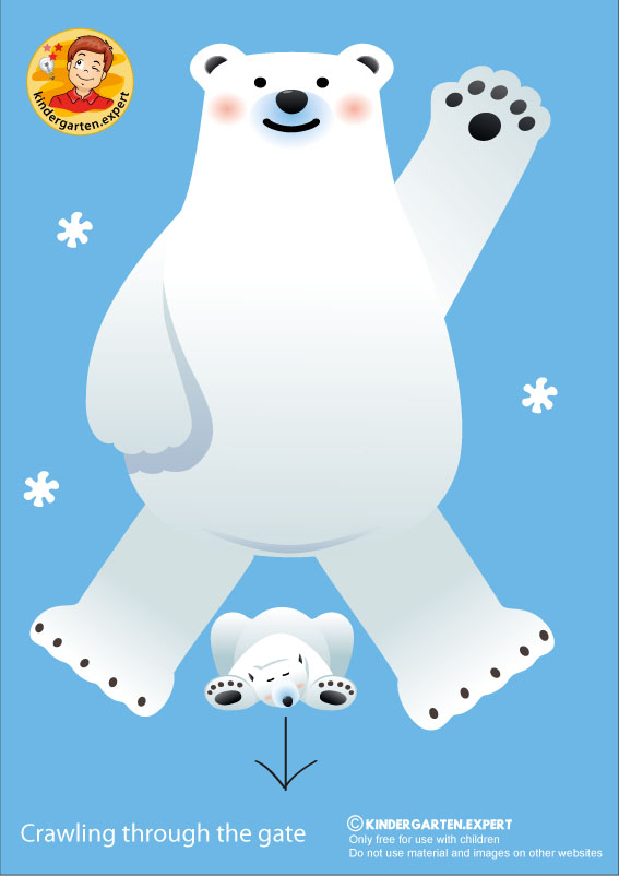 Bear 2, crawling through the gate, North Pole and South Pole theme, free printable, kindergarten expert