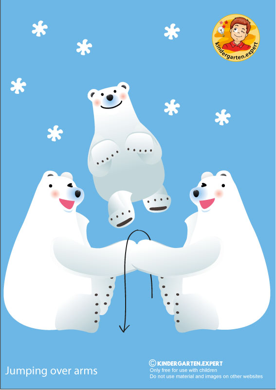 Bear 2, jumping over arms, North Pole and South Pole theme, free printable, kindergarten expert