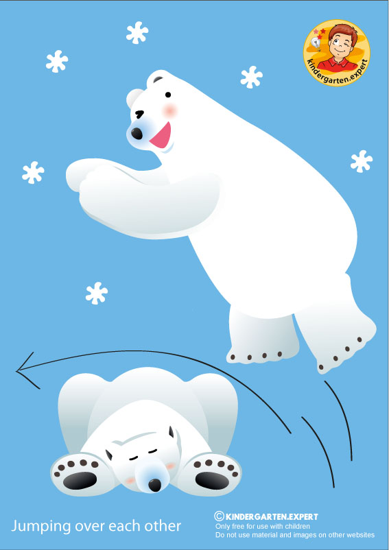 Bear 2, jumping over each other, North Pole and South Pole theme, free printable, kindergarten expert