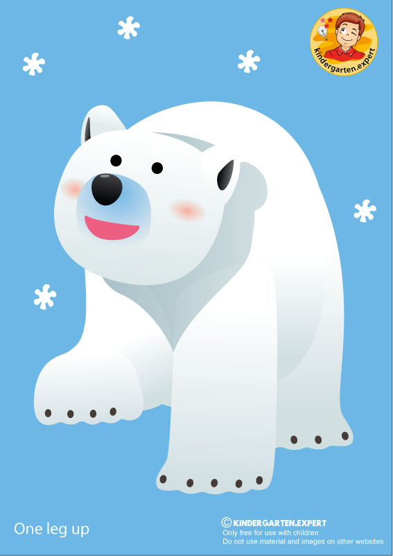 Bear 2, one leg up, North Pole and South Pole theme, free printable, kindergarten expert