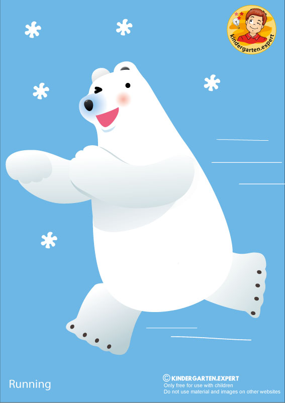 Bear 2, running, North Pole and South Pole theme, free printable, kindergarten expert