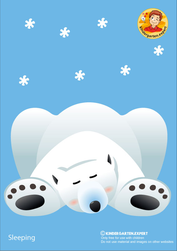 Bear 2, sleeping, North Pole and South Pole theme, free printable, kindergarten expert