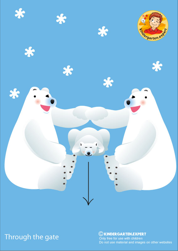 Bear 2, through the gate, North Pole and South Pole theme, free printable, kindergarten expert