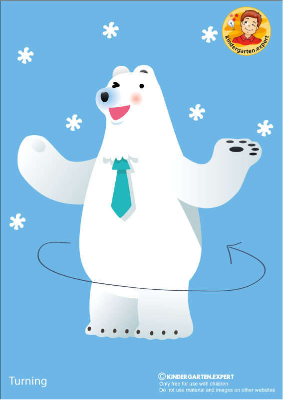 Bear 2, turning, North Pole and South Pole theme, free printable, kindergarten expert