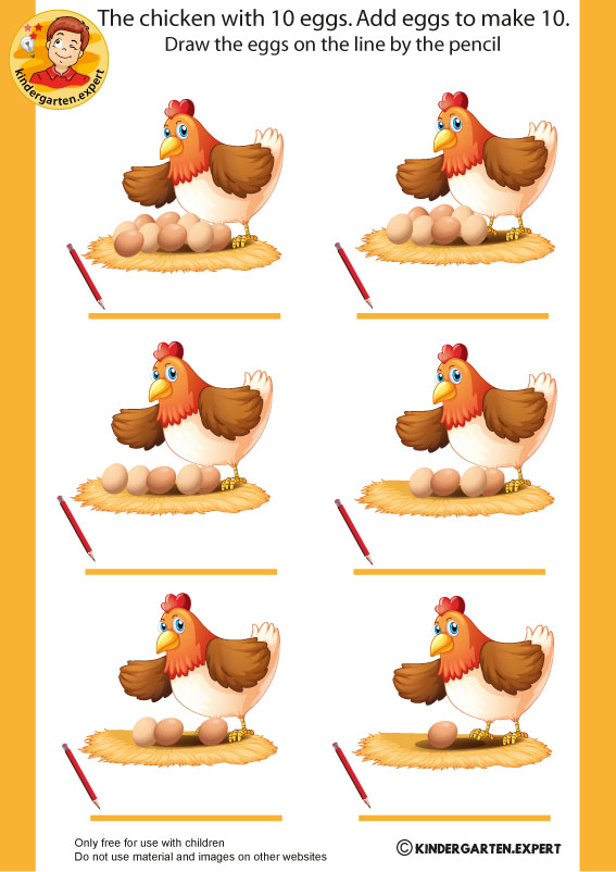 Chicken with 10 eggs, spring theme, kindergarten expert, free printable