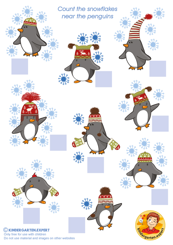 Count the snowflakes, North Pole and South Pole theme, kindergarten expert, free printable