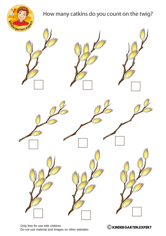 Counting catkins, spring theme, kindergarten expert, free printable