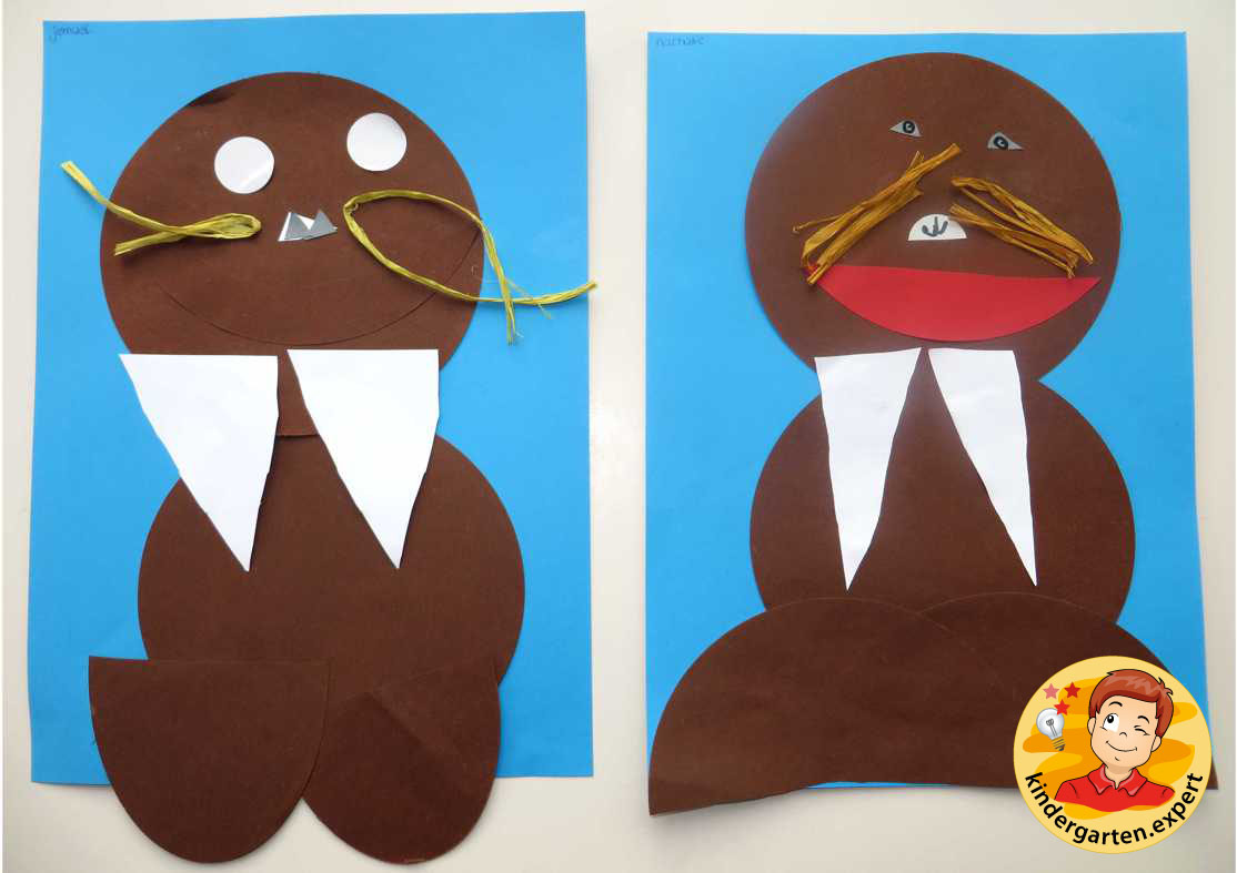 Cut and paste Walrus 1, North Pole and South Pole theme, kindergarten