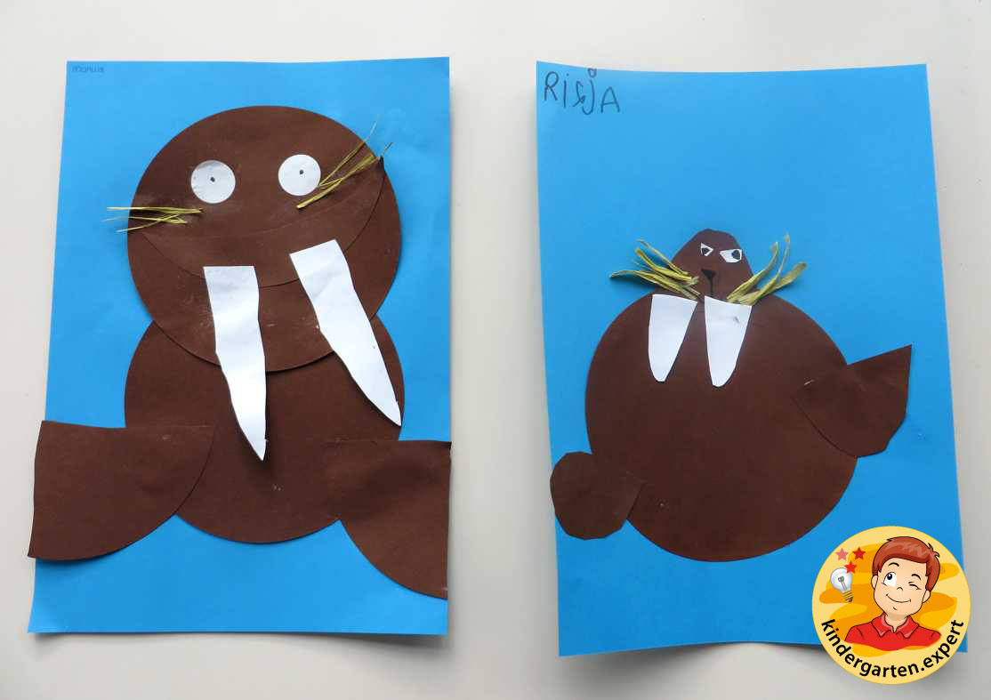 Cut and paste Walrus 2, North Pole and South Pole theme, kindergarten
