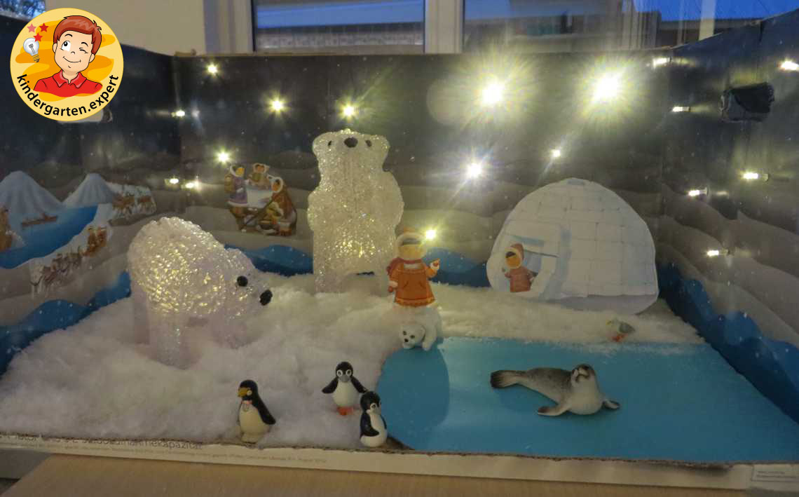 Diorama, North Pole and South Pole theme, kindergarten