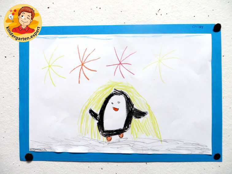 Drawing a penguin from a step by step example 3, North Pole and South Pole theme, kindergarten