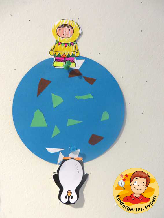 Earth with North Pole and South Pole 1, North Pole and South Pole theme, kindergarten