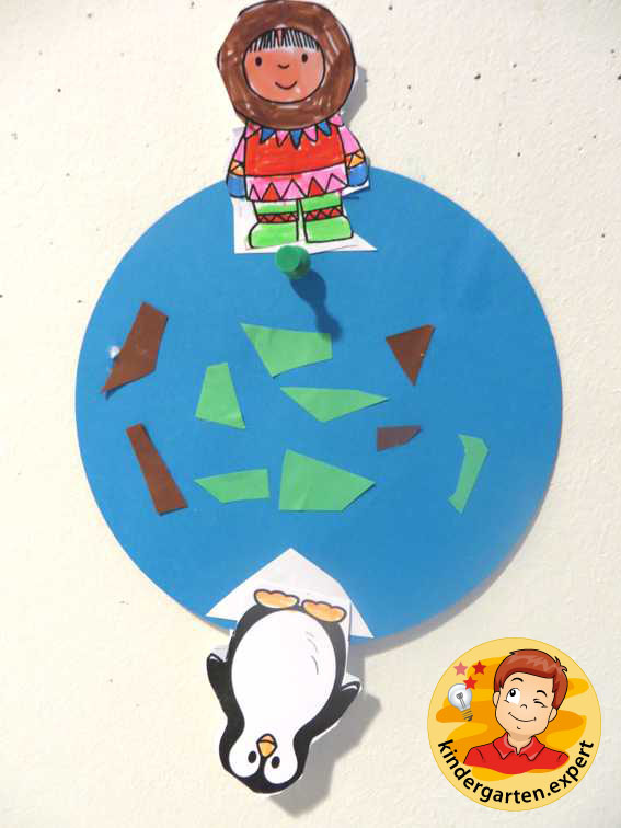 Earth with North Pole and South Pole 2, North Pole and South Pole theme, kindergarten