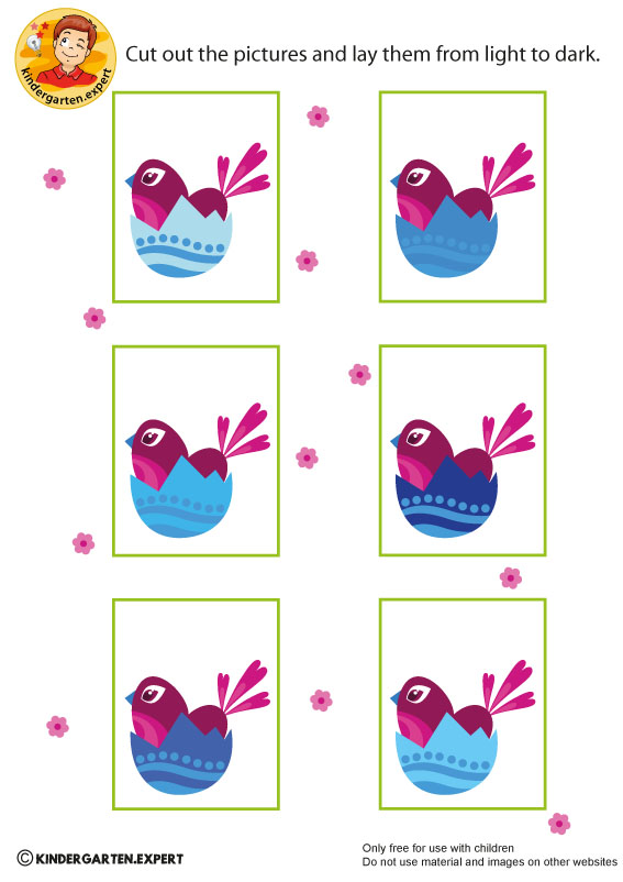 Eggs from light to dark, spring theme, kindergarten expert, free printable
