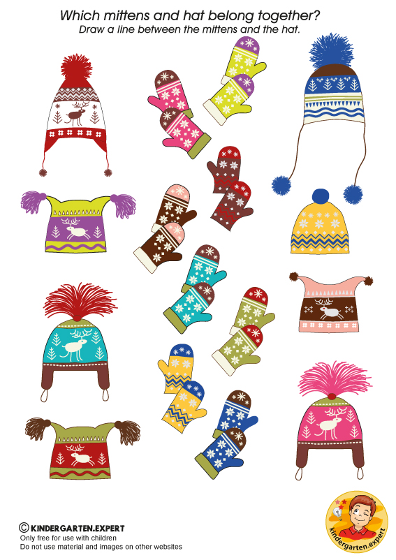 Mittens and hats, North Pole and South Pole theme, kindergarten expert, free printable