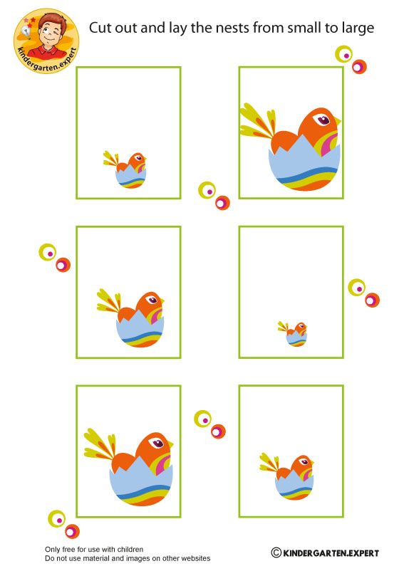 Nests from small to large, spring theme, kindergarten expert, free printable
