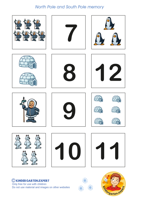 Number memory 2, North Pole and South Pole theme, kindergarten expert, free printable
