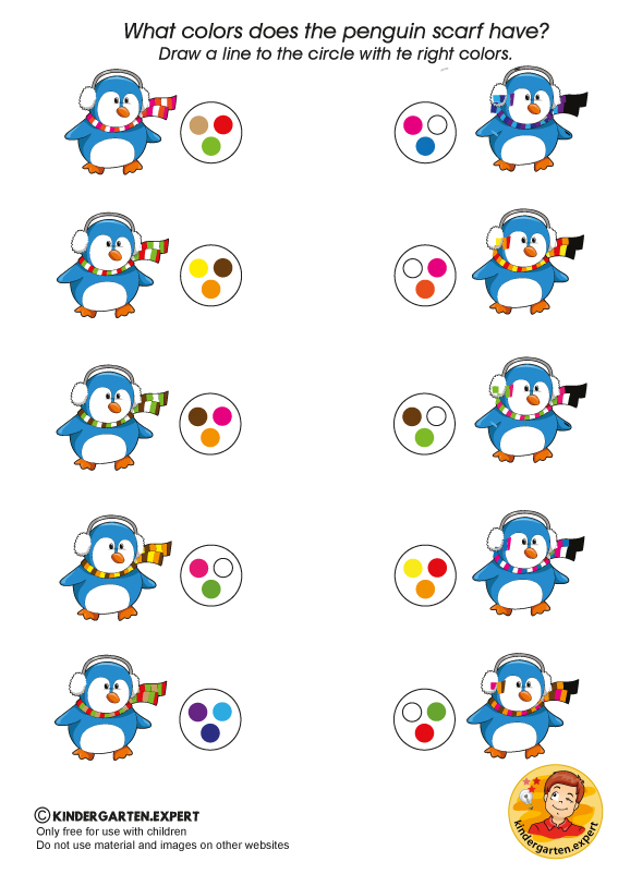 Penguin scarf,  North Pole and South Pole theme, kindergarten expert, free printable