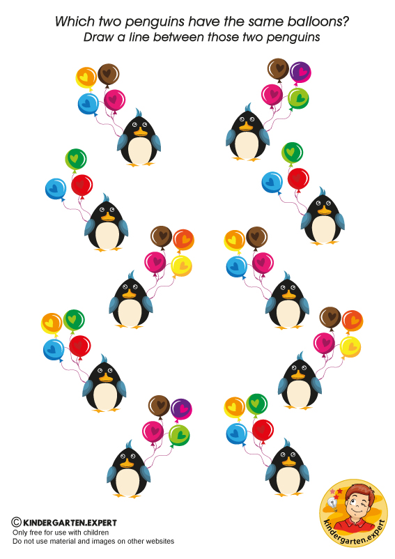 Penguins with balloons, North Pole and South Pole theme, kindergarten expert, free printable
