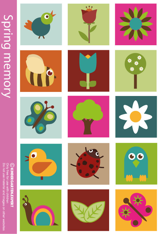 Spring memory, spring theme, kindergarten expert, free printable
