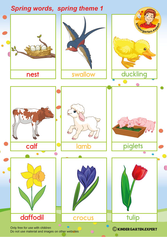 Spring words with pictures 1, spring theme, kindergarten expert, free printable