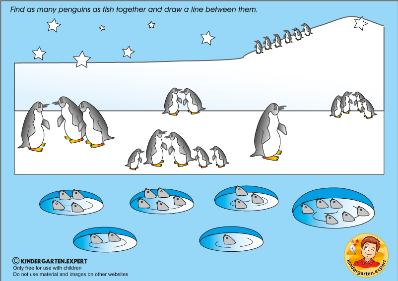 The same amount of penguins and fish, North Pole and South Pole theme, kindergarten expert, free printable