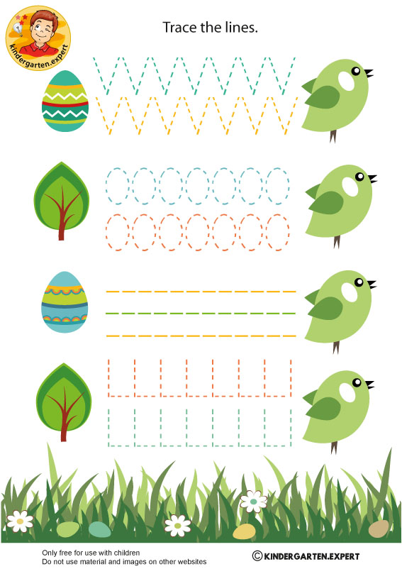 Writing pattern birds, spring theme, kindergarten expert, free printable