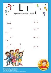 Alphabet dot to dot letter L, kindergarten expert, free printable
