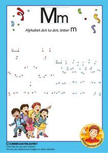 Alphabet dot to dot letter M, kindergarten expert, free printable