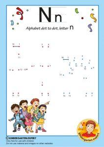 Alphabet dot to dot letter N, kindergarten expert, free printable