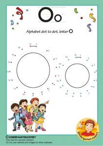 Alphabet dot to dot letter O, kindergarten expert, free printable