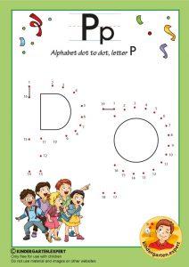 Alphabet dot to dot letter P, kindergarten expert, free printable