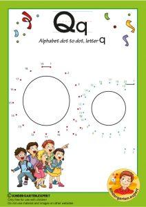 Alphabet dot to dot letter Q, kindergarten expert, free printable
